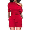 cheap Hair Braids-Women's Basic / Sophisticated Romper - Solid Colored