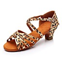 cheap Girls' Shoes-Girls' Latin Shoes Silk Heel Low Heel Customizable Dance Shoes Leopard / Indoor / Practice