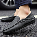 זול נעלי ספורט לגברים-בגדי ריקוד גברים PU אביב נוחות נעליים ללא שרוכים שחור / צהוב / כחול
