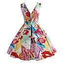 ieftine Regina Vintage-Pentru femei Ieșire Vintage De Bază Bumbac Subțire Swing Rochie - Imprimeu, Geometric V Adânc Talie Înaltă Lungime Genunchi