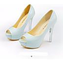 ieftine Tocuri de Damă-Pentru femei Pantofi PU Vară Confortabili / Balerini Basic Tocuri Toc Stilat Alb / Negru / Albastru