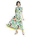 cheap Shoulder Bags-Women's Floral Daily Chinoiserie Maxi Sheath Dress - Geometric Print Summer Green L XL XXL