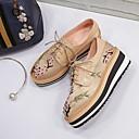 baratos Oxfords Femininos-Mulheres Sapatos Pele Primavera Conforto Oxfords Creepers Ponta Redonda Preto / Champanhe