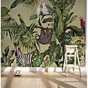 baratos Murais de Parede-papel de parede / Mural Tela de pintura Revestimento de paredes - adesivo necessário Art Deco / Árvores / Folhas / Padrão