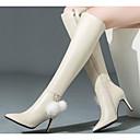 tanie Damskie buty na płaskim obcasie-Damskie Skóra nappa / Skóra bydlęca Zima Modne obuwie Botki Szpilka Kozaki za kolano Czarny / Beżowy