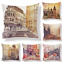 cheap Wall Stickers-6 pcs Textile / Cotton / Linen Pillow case, Art Deco / Architecture / Printing Square Shaped / European Style