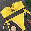 billige USB Flashdisker-Dame Grunnleggende Stroppeløs Gul Bandeau Cheeky Bikini Badetøy - Ensfarget S M L / Sexy