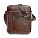 رخيصةأون حقائب الكتف-للرجال أكياس جلد أصلي حقيبة الكتف سحاب أسود / بني