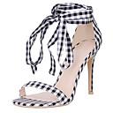 povoljno Ženske sandale-Žene Cipele Lan Ljeto Remen oko gležnja Sandale Stiletto potpetica Otvoreno toe Crno-bijeli / Zabava i večer / Zabava i večer