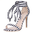 cheap Women's Sandals-Women's Shoes Linen Summer Ankle Strap Sandals Stiletto Heel Open Toe Black / White / Party & Evening / Party & Evening