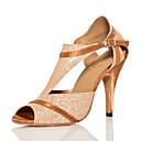 abordables Tenue de Danse Latine-Femme Faux Cuir Chaussures Latines Talon Mince haut talon Personnalisables Dorée / Utilisation / Entraînement