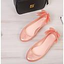 זול מוקסינים לנשים-בגדי ריקוד נשים נעליים PVC אביב קיץ בלרינה סנדלים שטוח בוהן מציצה פפיון לבן / ורוד / Wine