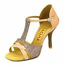 baratos Sapatos de Dança Latina-Mulheres Sapatos de Dança Latina / Sapatos de Salsa Cetim / Seda Sandália / Salto Presilha / Cadarço de Borracha Salto Personalizado Personalizável Sapatos de Dança Bronze / Amêndoa / Nú / Espetáculo