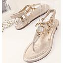 ieftine Adidași de Damă-Pentru femei Pantofi PU Vară Gladiator Sandale Toc Platformă Vârf rotund Cataramă Auriu / Negru
