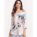hesapli Moda Küpeler-Kadın's Pamuklu Düşük Omuz Salaş - Bluz Desen, Çiçekli Boho Dışarı Çıkma