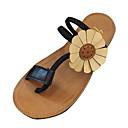 זול סנדלי נשים-בגדי ריקוד נשים PU קיץ נוחות סנדלים שטוח בוהן עגולה שחור / חום / ירוק