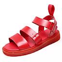 ieftine Sandale de Damă-Pentru femei Pantofi PU Vară Confortabili Sandale Toc Drept Vârf rotund Alb / Negru / Rosu