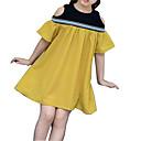 ieftine Seturi Îmbrăcăminte Fete-Copii Fete De Bază Zilnic Mată Manșon scurt Bumbac / Poliester Rochie Galben 110