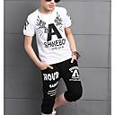 ieftine Top Băieți-Copii Băieți De Bază Geometric / Imprimeu Manșon scurt Bumbac Set Îmbrăcăminte