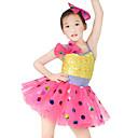 preiswerte Kindertanzkleidung-Tanzkleidung für Kinder Kleider Mädchen Leistung Elasthan / Tüll / Pailletten Schleife(n) / Pailetten Ärmellos Normal Haarschmuck / Kleid