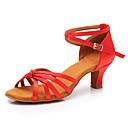 cheap Latin Shoes-Women's Latin Shoes Satin Sneaker Cuban Heel Customizable Dance Shoes Red