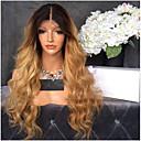 billige Armringer-Remy-hår Blonde Forside Parykk Brasiliansk hår Bølget Blond Parykk Lagvis frisyre 130% Ombre-hår / Mørke røtter Blond Dame Kort / Lang / Mellemlængde Blondeparykker med menneskehår