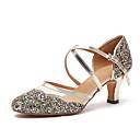 זול נעליים מודרניות-בגדי ריקוד נשים נעליים מודרניות סינטטיים נעלי ספורט נצנצים עקב קובני נעלי ריקוד זהב