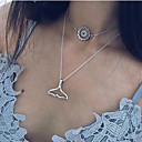cheap Slipcovers-Women's Layered Pendant Necklace Flower Mermaid Vintage European Fashion Silver 45 cm Necklace Jewelry 1pc For Causal Daily