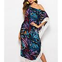 זול שמלות לבנות-בגדי ריקוד נשים בוהו משוחרר מכנסיים - פרחוני עלה טרופי, פרנזים תלתן / סירה רחב / חוף / סקסית