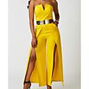 preiswerte Parykopfbedeckungen-Damen Geschlitzt Party Sexy Weiß Gelb Overall, Solide Gespleisst L XL XXL Baumwolle Ärmellos