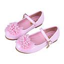 זול נעלי ילדות-בנות נעליים PU קיץ & אביב נעליים לילדת הפרחים שטוחות פפיון / אבזם ל ילדים לבן / ורוד / מסיבה וערב