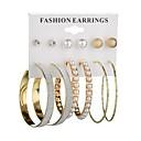 זול עגילים אופנתיים-בגדי ריקוד נשים פנינה עגילים צמודים טבעות חישוקים - דמוי פנינה כדור, סופגניות קלסי, אופנתי זהב / כסף עבור יומי / 6 זוגות