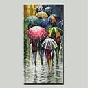 זול ציורים מופשטים-ציור שמן צבוע-Hang מצויר ביד - מופשט אנשים מודרני כלול מסגרת פנימית / בד מתוח