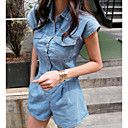 cheap Cell Phones-Women's Daily Basic Shirt Collar Blue Wide Leg Romper, Solid Colored M L XL Short Sleeve