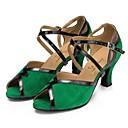 abordables Zapatos de Baile Latino-Mujer Zapatos de Baile Latino Ante Sandalia Tacón Cubano Zapatos de baile Verde