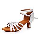 cheap Latin Shoes-Women's Latin Shoes Satin Sneaker Cuban Heel Customizable Dance Shoes White
