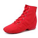 זול נעלי ג'אז-בגדי ריקוד נשים נעלי ג'אז קנבס שטוחות עקב קובני נעלי ריקוד שחור / אדום / ורוד / הצגה / אימון