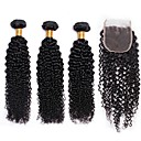 cheap Human Hair Wigs-3 Bundles with Closure Brazilian Hair Curly Human Hair One Pack Solution 8-24 inch Human Hair Weaves Machine Made Extention / Hot Sale Natural Color Human Hair Extensions All