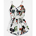 cheap Pins and Brooches-Women's Floral Going out / Beach Strap White Wide Leg Romper, Floral M L XL Sleeveless