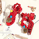 povoljno Ženske sandale-Žene Cipele Koža Ljeto Udobne cipele Cipele na petu Heterotipski peta Crn / Crvena