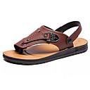 cheap Men's Sandals-Men's Nappa Leather Summer Comfort Sandals Black / Brown