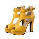 ieftine Pantofi Joși de Damă-Pentru femei Pantofi PU Vară / Toamna iarna Balerini Basic Sandale Toc Îndesat Pantofi vârf deschis Cataramă Alb / Negru / Galben