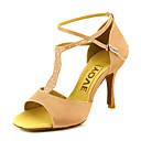 preiswerte Latein Schuhe-Damen Schuhe für den lateinamerikanischen Tanz / Ballsaal Satin Absätze Strass / Schnalle Stöckelabsatz Maßfertigung Tanzschuhe Gelb /