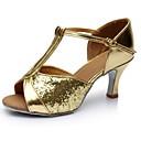 זול נעליים לטיניות-בגדי ריקוד נשים נעליים לטיניות סינטטיים סנדלים / עקבים שחבור עקב רחב מותאם אישית נעלי ריקוד זהב