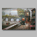 cheap Landscape Paintings-Oil Painting Hand Painted - Abstract / Landscape Comtemporary Canvas
