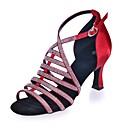 povoljno Cipele za latino plesove-Žene Plesne cipele Saten Cipele za latino plesove Štras Sandale Deblja visoka potpetica Srebro / Braon / Crvena / Koža / Vježbanje