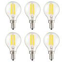 baratos Lâmpadas de LED-KWB 6pcs 4 W 400 lm E14 / E26 / E27 Lâmpadas de Filamento de LED G45 4 Contas LED SMD Decorativa Branco Quente 220-240 V