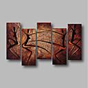 billige Abstrakte malerier-Hang malte oljemaleri Håndmalte - Abstrakt / Landskap Moderne Lerret / Fem Paneler / Stretched Canvas
