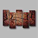 abordables Luces de Techo-Pintura al óleo pintada a colgar Pintada a mano - Abstracto / Paisaje Contemporáneo Incluir marco interior / Cinco Paneles / Lona ajustada