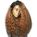 cheap Human Hair Wigs-Virgin Human Hair Lace Front Wig Layered Haircut Brazilian Hair Curly Auburn Wig 150% Density with Baby Hair Ombre Hair Dark Roots Auburn Women's Short Medium Length Long Human Hair Lace Wig Aili